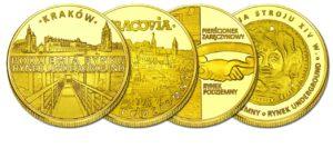 Zestaw 4 medali Złota Polska RYNEK PODZIEMNY W KRAKOWIE